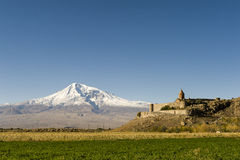 "Khor Virap and Mount Ararat. The Khor Virap, meaning deep pit or ""deep well"" is an Armenian Apostolic Church monastery located in the Ararat valley in Armenia Royalty Free Stock Images"