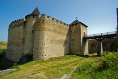 Khotinsk城堡,乌克兰 免版税库存图片
