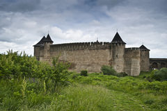 The Khotyn castle. An ancient ukrainian castle near Khotyn stock image