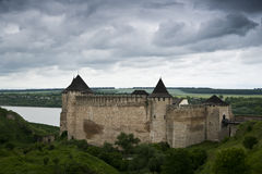 The Khotyn castle. An ancient ukrainian castle near Khotyn stock photography