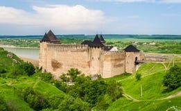 Khotyn castle on Dniester riverside Royalty Free Stock Photos