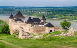 Khotyn castle on Dniester riverside. Ukraine Stock Photos