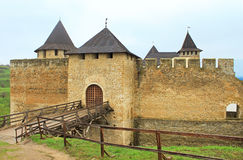 Khotyn castle on Dniester riverside, Ukraine Stock Photos
