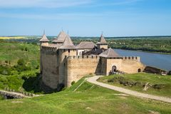 Khotyn fortess, castle in Ukraine. Castles of Ukraine. Fortress in Khotyn, a medieval stronghold on the banks of the Dniester River stock photography