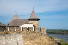 Khotyn fortess, castle in Ukraine. Castles of Ukraine. Fortress in Khotyn, a medieval stronghold on the banks of the Dniester River stock photos
