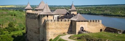 Khotyn fortess, castle in Ukraine. Castles of Ukraine. Fortress in Khotyn, a medieval stronghold on the banks of the Dniester River stock photo
