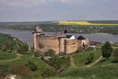 Khotyn Fortress. View of Khotyn Fortress on Dnister river, constructed in the 13-15th centuries. Western Ukraine Stock Images