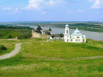 Khotyn Fortress and church of Alexander Nevsky Stock Photo