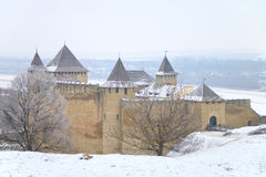 Khotyn fortress on a cold winter day Royalty Free Stock Images