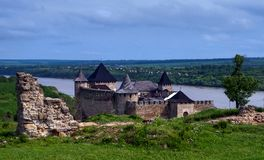 Khotyn fortress. On the Dniester, in the Chernivtsi region, Ukraine Stock Photo