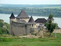 The Khotyn Fortress, Chernivtsi Oblast province of western Ukraine. Stock Images