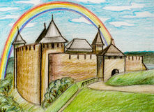 Khotyn fortress with rainbow. Stock Photo
