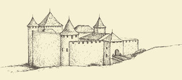 Khotyn Fortress, Ukraine. Vector sketch Royalty Free Stock Photography