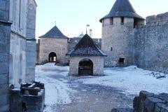 Khotyn Fortress. In western Ukraine in winter stock photo