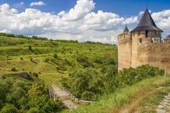 Khotyn slott, 13-17 århundrade, Ukraina Royaltyfria Bilder