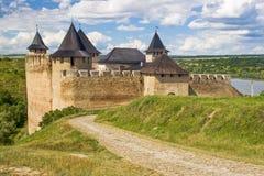 Khotyn slott, 13-17 århundrade, Ukraina Arkivbild