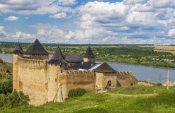 Khotyn slott, 13-17 århundrade, Ukraina Arkivbilder