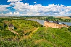 Khotyn slott, 13-17 århundrade, Ukraina Arkivfoto
