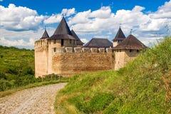 Khotyn slott, 13-17 århundrade, Ukraina Royaltyfri Fotografi