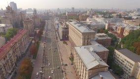 """Khreshchatyk†""""hoofdstraat van Ukraine's-kapitaal en de Gemeenteraadbouw stock video"""