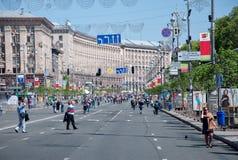 Khreshchatyk街道在基辅,乌克兰 免版税库存照片