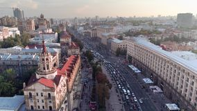 Khreshchatyk鸟瞰图乌克兰的首都 免版税库存照片