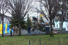 Khreshchatyk-Monument zum Pferd Stockfotografie