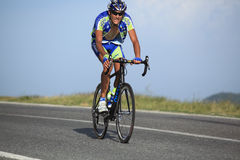 Khrypta Andriy cyclist from Ukraine. Paltinis, Sibiu, Romania - 5 July 2012: Sibiu Cycling Tour 2012 - Stage I. Cyclists climbing the montains, just few meters Stock Photography