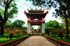 Khue Van Cac one of the gate at Temple of Literature. This is the first university of Vietnam. Van Mieu is symbol of Hanoi - Vietnam capital Stock Photography