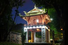 Khue Van Cac pavilion in second courtyard at Temple of literature or Van Mieu in Hanoi, Vietnam.  royalty free stock image