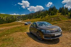 KHULO, GEORGIA - 08 August 2017:  Mountain unpaved road between Stock Image