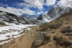 Khumbu glaciär, Himalyas Royaltyfria Foton