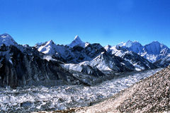 Khumbu Glacier. The Khumbu Glacier is located in the Khumbu region of northeastern Nepal and flows down from the Khumbu Icefall on the southern slopes of Mount Royalty Free Stock Photography