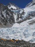 The Khumbu Glacier and Everest base camp. Trekking in the Himalayas, Nepal, Asia. On way to Everest Base camp. The Khumbu Glacier and mountains Royalty Free Stock Photo