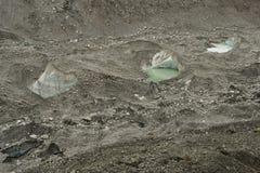 Khumbu glacier formations with glacier small lakes. Himalaya. Nepal Royalty Free Stock Photo