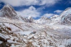 Khumbu Glacier and Himalayan mountain landscape, Nepal Stock Photo
