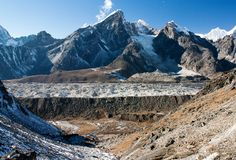 Khumbu glacier from Kongma la pass - Trek to Everest base camp - Nepal Stock Photos