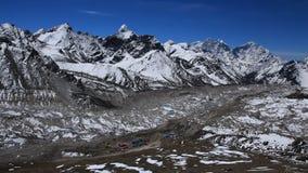 Khumbu Glacier and lodges in Gorak Shep Royalty Free Stock Image