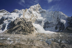 Khumbu Glacier Mount Everest Nepal. The top of the Khumbu Glacier on the popular climbing route to the summit of Mount Everest in Nepal royalty free stock photography