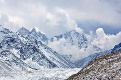 Khumbu Glacier and mountain landscape in Sagarmatha, Nepal Stock Image