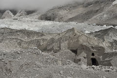 Khumbu Glacier near the famous and dangerous Khumbu IceFall, Himalaya. Nepal Stock Photography