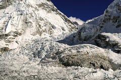 Mount Everest Base Camp Khumbu Icefall Nepal Himalaya Mountains. Khumbu Icefall Glacier Landscape Panorama View from Mount Everest Base Camp in Nepal Himalaya stock photo