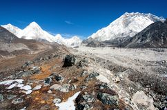 Khumbu valley, khumbu glacier and pumo ri peak. And Nuptse peak - nepal Royalty Free Stock Photo