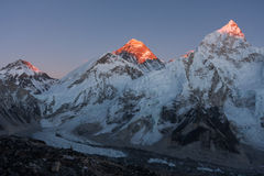 Khumbutse, Mt. Everest and Nuptse at Sunset Royalty Free Stock Photography