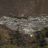 Khumjung. NEPAL - CIRCA OCTOBER 2013: view of the village of  in the Himalayas circa October 2013 in Royalty Free Stock Image