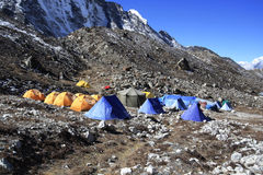 KHUMJUNG, NEPAL: Tents in Island peak base camp, Khumjung Nepal Stock Photos