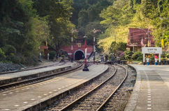 Khun Tan Tunnel. Is a long tunnel under the Khun Tan Range. It is the longest of Thailand's seven railway tunnels Stock Photos