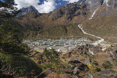 Khunde. NEPAL - CIRCA OCTOBER 2013: view of the village of Khumjung in the Himalayas circa October 2013 in Stock Photo