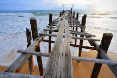 Khunpepe010. Wooden pier going into the sea at Khok Kloi district, Phang Nga, Thailand Royalty Free Stock Images