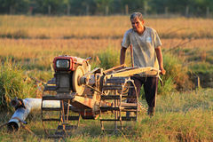 Khunpepe032. Nakhon Si Thammarat, Thailand - FEBRUARY 18, 2011 : Unidentified farmer plows the paddy field using tiller tractor to prepare the soil before the Royalty Free Stock Photos